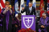 President Barack Obama delivers the eulogy for South Carolina state senator and Rev. Clementa Pinckney during Pinckney's funeral service June 26, 2015 in Charleston, South Carolina. (Joe Raedle/Getty Images)