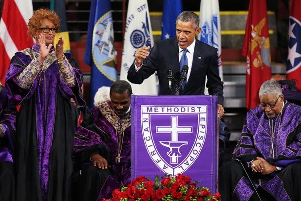 President Barack Obama delivers the eulogy for South Carolina state senator and Rev. Clementa Pinckney during Pinckney's funeral service June 26, 2015 in Charleston, South Carolina. (Joe Raedle/Getty Images)