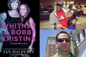 'Whitney and Bobbi Kristina' book by Ian Halperin (lower right); Bobby Brown with daughter
