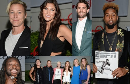 "Abby Wambach, Hope Solo, Kevin Love, Odell Beckham Jr., Women's World Cup champs, and Super Bowl champ LeGarrette Blount at ESPN the Magazine's ""Body at ESPYs"" party on Tuesday night. (Michael Kovac/Getty Images)"