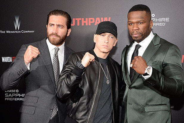 NEW YORK, NY - JULY 20: Jake Gyllenhaal, Eminem and 50 Cent attend the 'Southpaw' New York premiere at AMC Loews Lincoln Square on July 20, 2015 in New York City