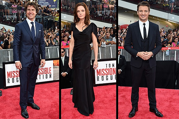 NEW YORK, NY - JULY 27: Tom Cruise Rebecca Ferguson Jeremy Renner attends the 'Mission Impossible - Rogue Nation' New York premiere at Duffy Square in Times Square on July 27, 2015 in New York City. (Photo by Jamie McCarthy/Getty Images)