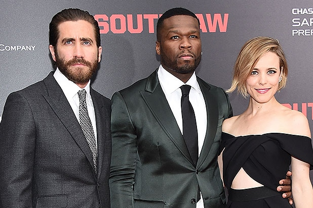NEW YORK, NY - JULY 20: Actors Jake Gyllenhaal, Curtis '50 Cent' Jackson and Rachel McAdams attend the New York premiere of 'Southpaw' for THE WRAP at AMC Loews Lincoln Square on July 20, 2015 in New York City. (Photo by Michael Loccisano/Getty Images)