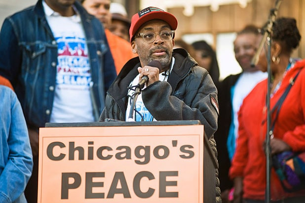 CHICAGO, IL - JUNE 19: Spike Lee attends a rally to end gun violence and film a scene for the film 'Chiraq' on June 19, 2015 in Chicago, Illinois. (Photo by Timothy Hiatt/Getty Images)
