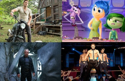 Sunday Box Office Quad Split Jurassic World Inside Out T5 Magic Mike XXL