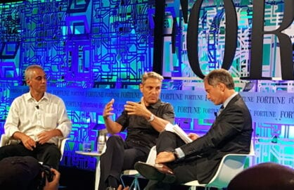 Rahm and Ari Emanuel at the Fortune Brainstorm Tech conference