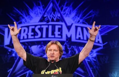 "NEW YORK - MARCH 31: ""Rowdy"" Roddy Piper attends the WrestleMania 25th anniversary press conference at the Hard Rock Caf? on March 31, 2009 in New York City. (Photo by Andrew H. Walker/Getty Images)"