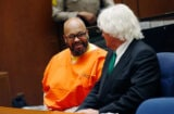 """Marion """"Suge"""" Knight court appearance with lawyer Thomas Mesereau (Patrick T Fallon-Pool/Getty Images)"""