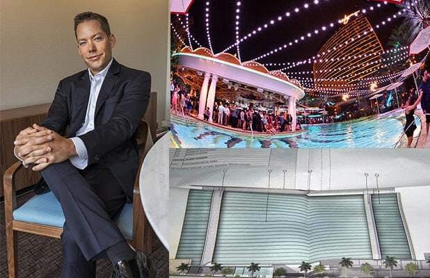 Jesse Waits, former managing partner of XS (above right) confirmed his move to a new role with the Alon Las Vegas Resort (a preliminary rendering, bottom right). (Waits by Tomo for Alon, XS by Karl Larsen, Renderings of new Alon courtesy of Fox 5 Las Vegas)