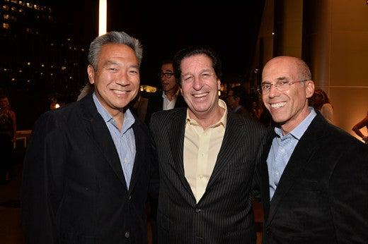"""Kevin Tsujihara, Peter Roth, and Jeffrey Katzenberg at the """"Evening Before"""". (MPTF)"""