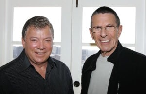"LOS ANGELES - AUGUST 9: Actors William Shatner (L) and Leonard Nimoy (R) promote the ""Star Trek"" 40th Anniversary on the TV Land network at the Four Seasons hotel August 9, 2006 in Los Angeles, California. Episodes of the show will air September 8. (Photo by Frazer Harrison/Getty Images)"