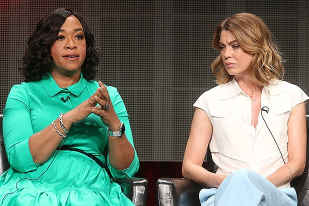 BEVERLY HILLS, CA - AUGUST 04: Executive producer Shonda Rhimes (L) and actress Ellen Pompeo speak onstage during the 'Grey's Anatomy,' 'Scandal,' and 'How To Get Away With Murder' panel discussion at the ABC Entertainment portion of the 2015 Summer TCA Tour at The Beverly Hilton Hotel on August 4, 2015 in Beverly Hills, California. (Photo by Frederick M. Brown/Getty Images)