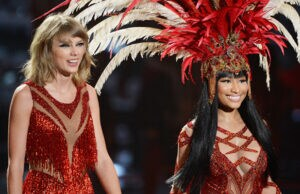 LOS ANGELES, CA - AUGUST 30: Recording artists Taylor Swift (L) and Nicki Minaj perform onstage during the 2015 MTV Video Music Awards at Microsoft Theater on August 30, 2015 in Los Angeles, California. (Photo by Kevork Djansezian/Getty Images)