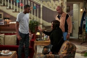 "THE CARMICHAEL SHOW -- ""Protest"" Episode 104 -- Pictured: (l-r) Jerrod Carmichael as Jerrod, Loretta Devine as Cynthia Carmichael, David Alan Grier as Joe Carmichael -- (Photo by: Ben Cohen/NBC)"