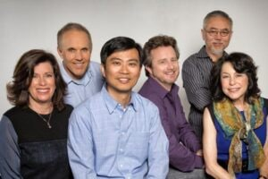 Top, from left: Sandra Rabins, Bob Bendetson, Harley Zhao, Christopher Jenkins, John Eng and Penney Finkelman Cox