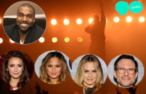 """Kanye was the surprise guest at Verizon's """"Go90"""" app party in Beverly Hills. Celebs turned out big. (Background image is from September 18 of a nearly identical Kanye stage (Getty Images); Celeb photos are from the event  by John Sciulli)"""