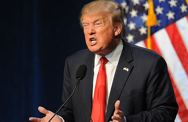 DES MOINES, IA-SEPTEMBER 19: Republican Presidential Candidate Donald Trump speaks at the Iowa Faith & Freedom Coalition 15th Annual Family Banquet and Presidential Forum held at the Iowa State fairgrounds on September 19, 2015 in Des Moines, Iowa. Eight of the Republican candidates including Trump are expected to attend the event. (Photo by Steve Pope/Getty Images)