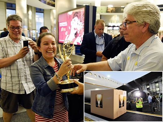Emmy Statuettes Arrival United LAX Invision