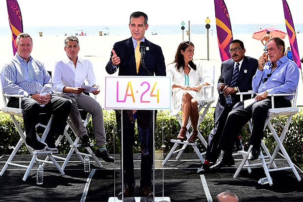 SANTA MONICA, CA - SEPTEMBER 01: Los Angeles Mayor Eric Garcetti speaks at a press conference as he is joined by (L-R) USOC CEO Scott Blackmun, LA 2024 Chairman Casey Wasserman, Olympian Janet Evens, LA City Cuncil President Herb Wesson and announcer AL Michaels to officially launch a Los Angeles 2024 Olympic and Paralympic games bid at Annenberg Beach House on September 1, 2015 in Santa Monica, California. (Photo by Harry How/Getty Images)