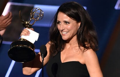 LOS ANGELES, CA - SEPTEMBER 20:  Actress Julia Louis-Dreyfus accepts Outstanding Lead Actress in a Comedy Series award for 'Veep' onstage during the 67th Annual Primetime Emmy Awards at Microsoft Theater on September 20, 2015 in Los Angeles, California.  (Photo by Kevin Winter/Getty Images)