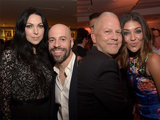 Laura Prepon with Chris Daughtry; Prolific producer Ryan Murphy with Jessie Szohr at EW later on Friday. (Getty Images)