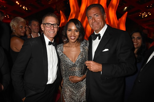 LOS ANGELES, CA - SEPTEMBER 20: (EXCLUSIVE COVERAGE) (L-R) HBO President of Programming Michael Lombardo, actress Kerry Washington, and Chairman and C.E.O. of HBO Richard Plepler attend HBO's Official 2015 Emmy After Party at The Plaza at the Pacific Design Center on September 20, 2015 in Los Angeles, California. (Photo by Jeff Kravitz/FilmMagic)