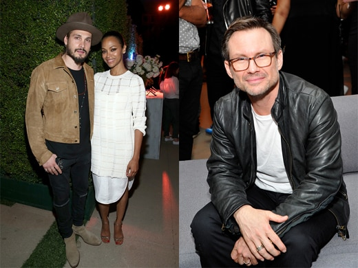 "Marco Perego and Zoe Saldana; Christian Slater at the ""Go90"" VIP Sneak Preview in Beverly Hills on Thursday night. (John Sciulli/Getty Images)"