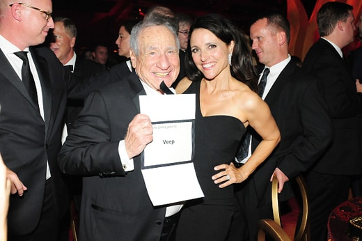 LOS ANGELES, CA - SEPTEMBER 20: Comedians Mel Brooks and Julia Louis-Dreyfus attend HBO's Official 2015 Emmy After Party at The Plaza at the Pacific Design Center on September 20, 2015 in Los Angeles, California. (Photo by FilmMagic/FilmMagic)
