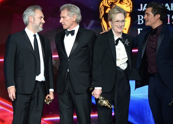 BEVERLY HILLS, CA - OCTOBER 30: (EXCLUSIVE COVERAGE) (L-R) Honorees Sam Mendes, Harrison Ford, Meryl Streep and Orlando Bloom with The GREAT Britain Campaign during the 2015 Jaguar Land Rover British Academy Britannia Awards presented by American Airlines at The Beverly Hilton Hotel on October 30, 2015 in Beverly Hills, California. (Photo by Michael Kovac/Getty Images for The GREAT Britain Campaign)