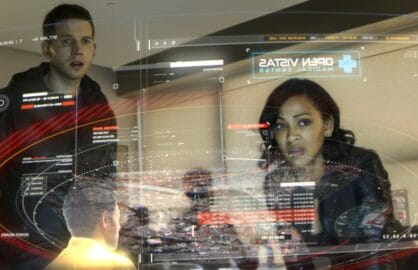 MINORITY REPORT: L-R: Stark Sands and Megan Good in MINORITY REPORT airing Monday, Sep. 21 (9:00-10:00 PM ET/PT) on FOX. CR: Bruce MacCauley / FOX. © 2015 FOX Broadcasting.