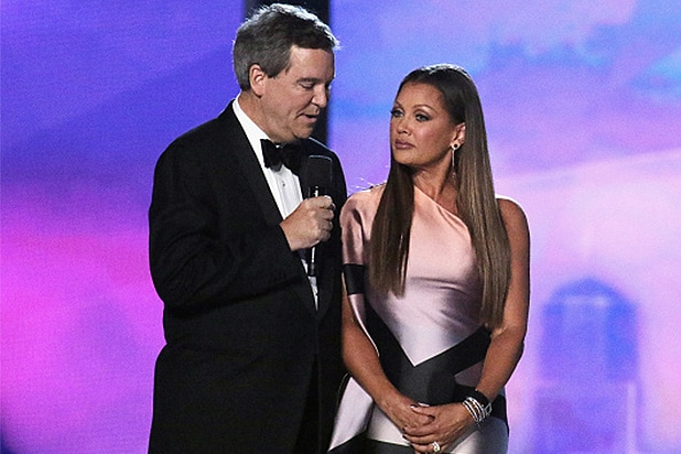 ATLANTIC CITY, NJ - SEPTEMBER 13: Executive Chairman and CEO for Miss America Sam Haskell III and Vanessa Williams speak onstage during the 2016 Miss America Competition at Boardwalk Hall Arena on September 13, 2015 in Atlantic City, New Jersey. (Photo by Donald Kravitz/Getty Images for dcp)
