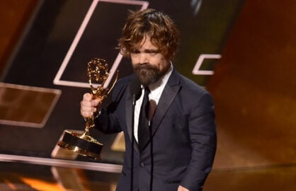 LOS ANGELES, CA - SEPTEMBER 20:  Actor Peter Dinklage accepts Outstanding Supporting Actor in a Drama Series award for 'Game of Thrones' onstage during the 67th Annual Primetime Emmy Awards at Microsoft Theater on September 20, 2015 in Los Angeles, California.  (Photo by Kevin Winter/Getty Images)