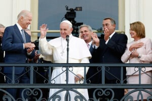 WASHINGTON, DC - SEPTEMBER 24:  Pope Francis (2nd L) waves to crowd from the balcony of the US Capitol building, after his address to a joint meeting of the U.S. Congress as (L to R) U.S. Vice President Joe Biden, House Majority Leader Kevin McCarthy (R-CA), Speaker of the House John Boehner (R-OH)and House Democratic Leader Rep. Nancy Pelosi (D-CA) look on September 24, 2015 in Washington, D.C. Pope Francis, the first pope to address a joint meeting of Congress, will finish his tour of Washington later today before traveling to New York City.  (Photo by Evy Mages/Getty Images)