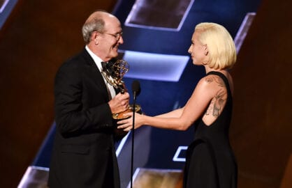 LOS ANGELES, CA - SEPTEMBER 20:  Actor Richard Jenkins (L) accepts Outstanding Lead Actor in a Limited Series or Movie award for 'Olive Kitteridge' from singer/actress Lady Gaga onstage during the 67th Annual Primetime Emmy Awards at Microsoft Theater on September 20, 2015 in Los Angeles, California.  (Photo by Kevin Winter/Getty Images)