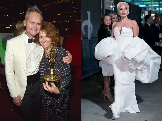 """Amazon's Roy Price and """"Transparent"""" creator Jill Soloway at Amazon's downtown party. At right, Lady Gaga has become an awards night fixture, following her telecast presenting appearance with a turn at Fox's party. (Charley Gallay Getty Images/Filmmagic)"""