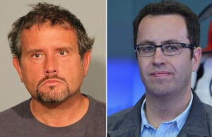 Russell Taylor is shown in a booking photo and Jared Fogle along with other icons of advertising ring the closing bell at NASDAQ MarketSite on September 23, 2013 in New York City. (Getty Images)
