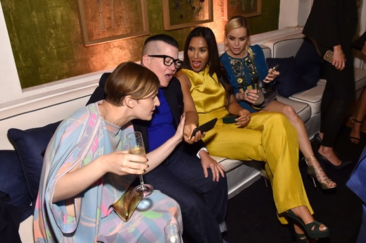 WEST HOLLYWOOD, CA - SEPTEMBER 18: (L-R) Chelsea Fairless, Lea DeLaria, Padma Lakshmi and Taryn Manning attend the 2015 Entertainment Weekly Pre-Emmy Party at Fig & Olive Melrose Place on September 18, 2015 in West Hollywood, California. (Photo by Larry Busacca/Getty Images for Entertainment Weekly)