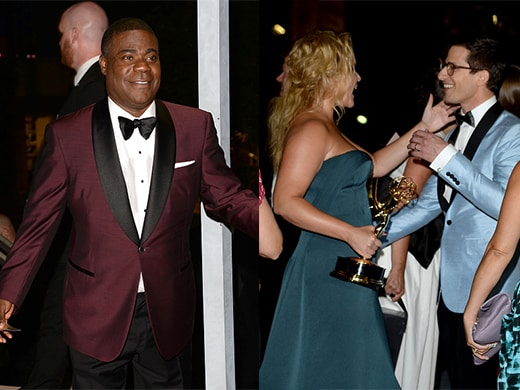 Tracy Morgan was the huge surprise of the night. Meanwhile, we may be looking at this year's Emmys host greeting next year's Emmys host, as Samberg and Schumer connected at the Governors Ball. (Getty Images)