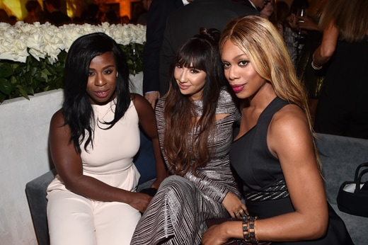 WEST HOLLYWOOD, CA - SEPTEMBER 18: (L-R) Actors Uzo Aduba, Jackie Cruz and Laverne Cox attend the 2015 Entertainment Weekly Pre-Emmy Party at Fig & Olive Melrose Place on September 18, 2015 in West Hollywood, California. (Photo by Alberto E. Rodriguez/Getty Images for Entertainment Weekly)