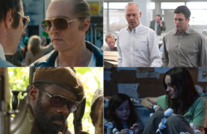Johnny Depp in Black Mass, Michael Keaton and Mark Ruffalo in Spotlight, Idris Elba in Beasts of No Nation, Jacob Tremblay and Brie Larson in Room