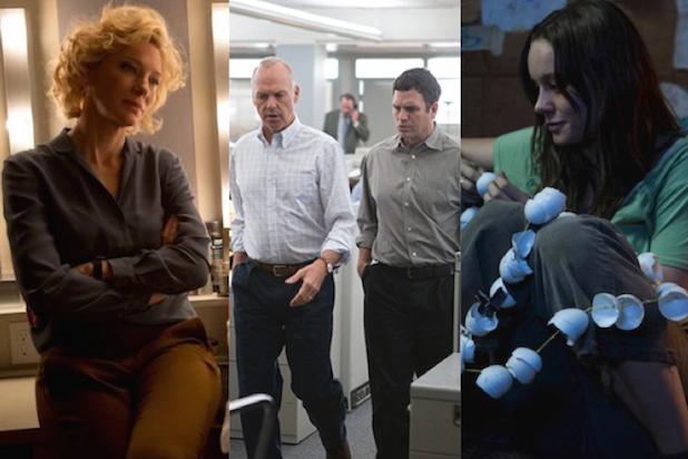 "Cate Blanchett in ""Truth,"" Michael Keaton and Mark Ruffalo in ""Spotlight"" and Brie Larson in ""Room"""
