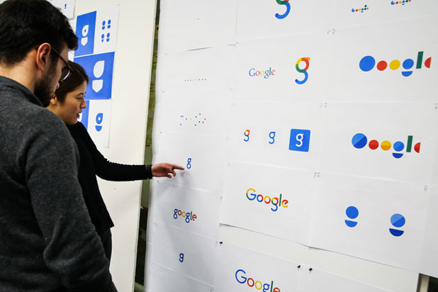 Other logo options Google considered before  its new design. (Google Design)