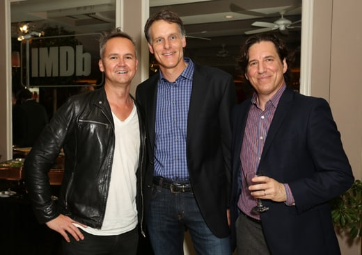 WEST HOLLYWOOD, CA - OCTOBER 15: (L-R) Vice President of Amazon Studios Roy Price, Amazon Studios Senior Vice President of Business Development Jeff Blackburn, and talent agent Michael Yanover attends IMDb's 25th Anniversary Party co-hosted by Amazon Studios presented by VISINE at Sunset Tower Hotel on October 15, 2015 in West Hollywood, California. (Photo by Rachel Murray/Getty Images for IMDb)