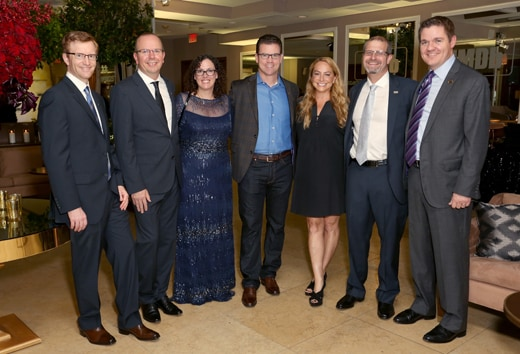 WEST HOLLYWOOD, CA - OCTOBER 15: (L-R) Head of IMDb Pro Brian Carver, IMDb founder and CEO Col Needham, IMDb COO Rob Grady, IMDb Head of PR & Talent Relations Emily Glassman, IMDb Senior Film Editor Keith Simanton, and Matt Ellsworth attend IMDb's 25th Anniversary Party co-hosted by Amazon Studios presented by VISINE at Sunset Tower Hotel on October 15, 2015 in West Hollywood, California. (Photo by Rachel Murray/Getty Images for IMDb)
