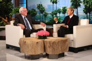 In this photo released by Warner Bros., talk show host Ellen DeGeneres welcomes Democratic Presidential Candidate Senator Bernie Sanders on  Wednesday, Oct. 14, 2015 in Burbank, Calif.  This episode of ÒThe Ellen DeGeneres ShowÓ will air on Thursday, Oct. 15. (Photo by Mike Rozman/Warner Bros)