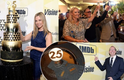 Mira Sorvino, Peter and Parky Fonda, Dana Delaney, and the Hollywood professional community toasted IMDb founder Col Needham (bottom right) on the 25th birthday of his entertainment website progenitor, IMDb. (Getty Images)