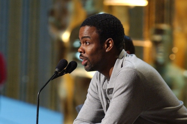 Chris Rock rehearsing for the 2005 Oscars