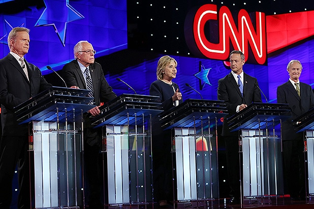 LAS VEGAS, NV - OCTOBER 13: (L-R) Democratic presidential candidates Jim Webb, U.S. Sen. Bernie Sanders (I-VT), Hillary Clinton, Martin O'Malley and Lincoln Chafee take part in presidential debate sponsored by CNN and Facebook at Wynn Las Vegas on October 13, 2015 in Las Vegas, Nevada. The five candidates are participating in the party's first presidential debate. (Photo by Joe Raedle/Getty Images)