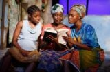 Pascale Armand, Lupita Nyong'o, and Saycon Sengbloh in 'Eclipsed' (Photo: Joan Marcus)