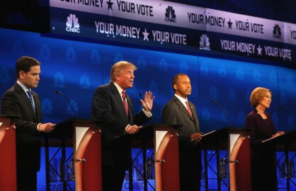 BOULDER, CO - OCTOBER 28:  Presidential candidates Donald Trump (L) speaks while Sen. Marco Rubio (L) (R-FL),   Ben Carson, and Carly Fiorina look on during the CNBC Republican Presidential Debate at University of Colorados Coors Events Center October 28, 2015 in Boulder, Colorado.  Fourteen Republican presidential candidates are participating in the third set of Republican presidential debates.  (Photo by Justin Sullivan/Getty Images)